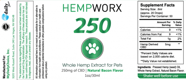HempWorx 250mg pet cbd oil